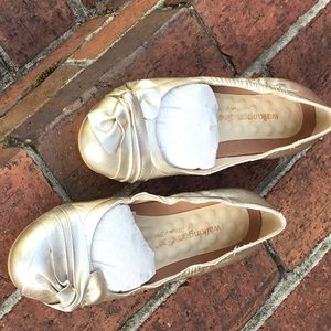 Gold walking cradles flats- Never worn